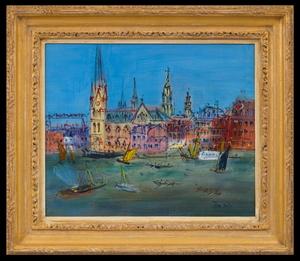 Jean DUFY - Painting - Le Rhin - 'Scène de Port'