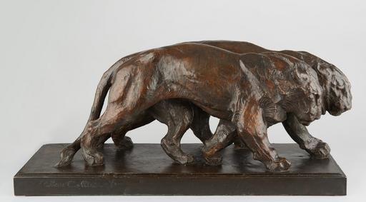 Albéric COLLIN - Escultura - Deux lionnes marchant