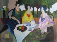 Isaac TARKAY - Peinture - * Tea Time with Fruits, Oil on Canvas, 38.5 x 50