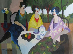 Isaac TARKAY - Peinture - * Tea Time with Fruits, Oil on Canvas, 38.5 x 50