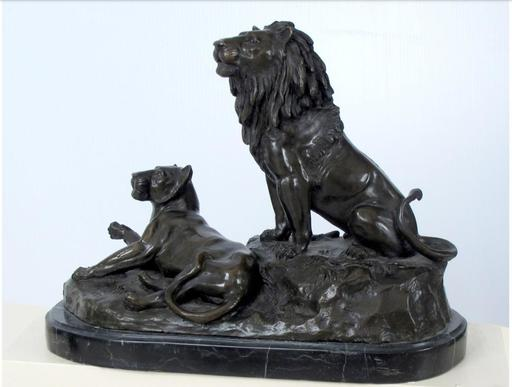 Georges GARDET - Scultura Volume - Lion and Lioness