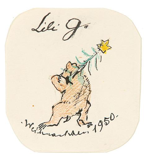 Oskar LASKE - Zeichnung Aquarell - Weihnachtsbär, 1950