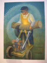 Louis TOFFOLI - Grabado - Le scieur de bois(La scie électrique)1986.