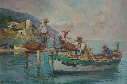 Jakob MADIOL - Painting - retour de pêche (La Ciotat)