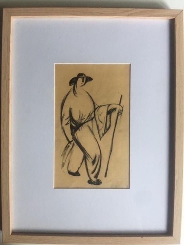 Wladimir TATLIN - Dibujo Acuarela - PECHEUR ET POISSON