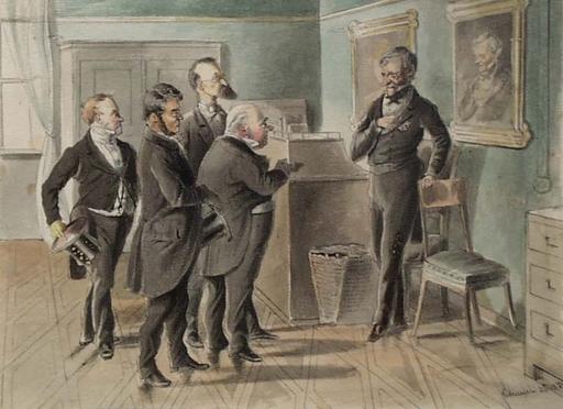 """Victor ODESCALCHI - Disegno Acquarello - """"Audience"""" by Prince Victor Odescalchi, 1868, Watercolour"""