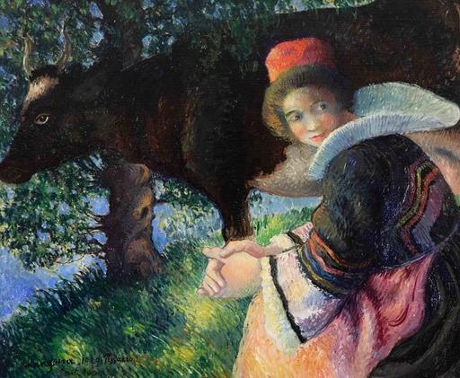 Georges MANZANA-PISSARRO - 绘画 - Bretonne à la Vache