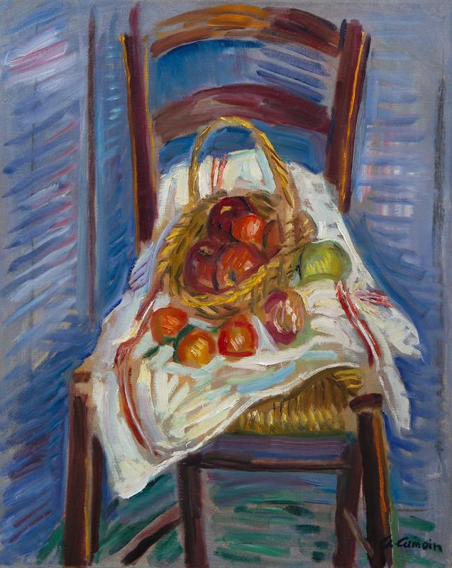 Charles CAMOIN - Peinture - Corbeille de fruits sur une chaise