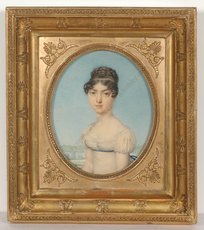"Nicolas Henri JACOB - Miniature - ""Portrait of a young lady"", outstanding watercolor!, 1815/18"