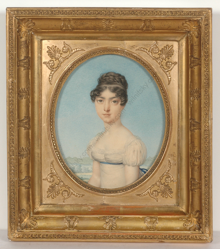 "Nicolas Henri JACOB - Miniatur - ""Portrait of a young lady"", outstanding watercolor!, 1815/18"