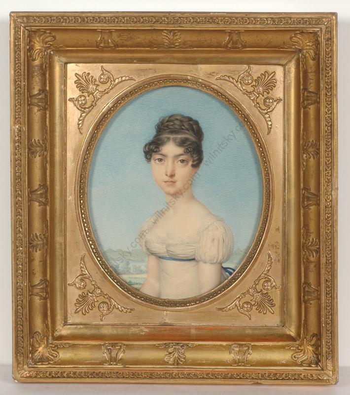 "Nicolas Henri JACOB - Miniatur - ""Portrait of a young lady"", outstanding watercolor!, 1815/18"