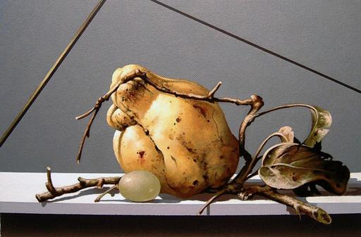 GERICO - Painting - Natiura in posa (mela cotogna e chicco d'uva)
