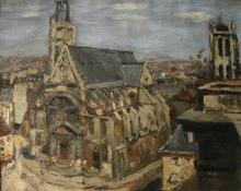 Pierre Jean DUMONT - Peinture - Vue d'eglise, années 30