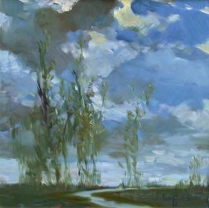Lun Gywe U - Pintura - Dancing Trees Under the Moonlight