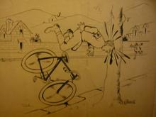 Paul AUGROS - Dibujo Acuarela - les cyclistes caricatures dessins