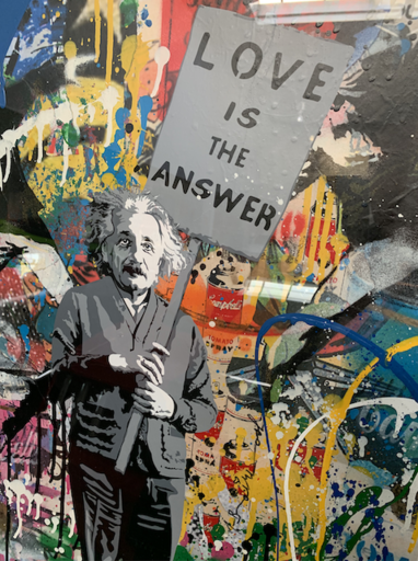 MR BRAINWASH - Pintura - Albert Einstein - Love is the answer