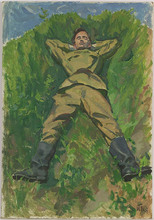 "Vladimir Grigor'evic VLASOV - Pintura - ""Sleeping Soldier"" by Vladimir Vlasov"