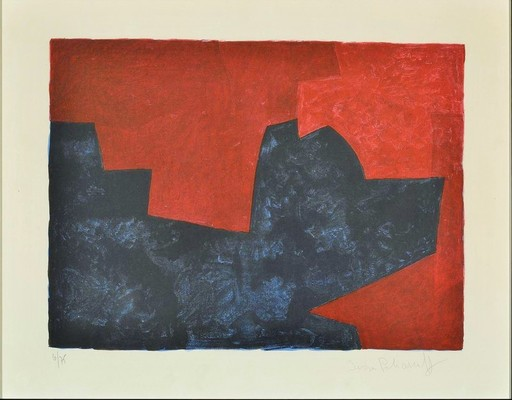 Serge POLIAKOFF - Print-Multiple - Composition lie-de-vin et bleue