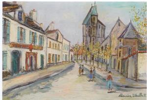 Maurice UTRILLO - Peinture - Rue de banlieue
