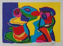 """卡尔-阿佩尔 - 版画 - Aquatinte et carborundum, ca 1970 """"Sans titre"""" Signée à la m"""