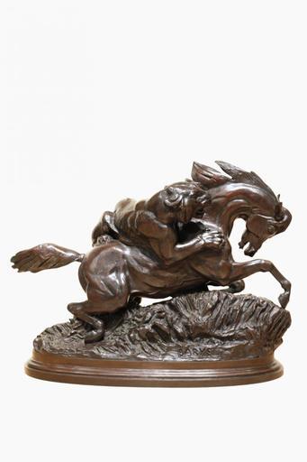 Antoine Louis BARYE - Sculpture-Volume - Cheval surpris par un tigre