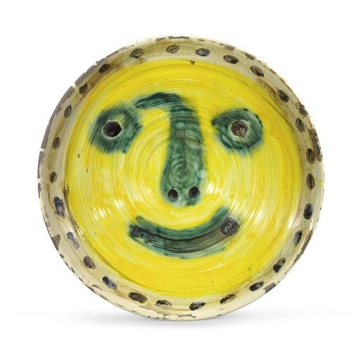 Pablo PICASSO - Ceramiche - Visage sur fond jaune