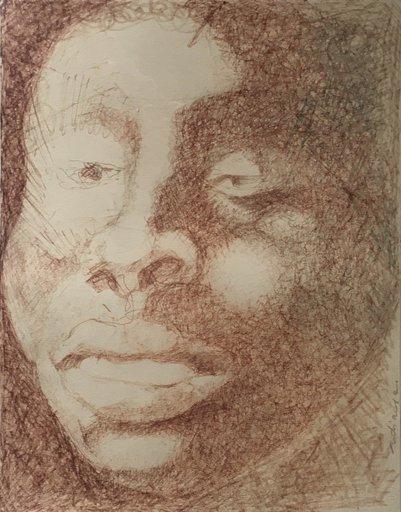 Iba N'DIAYE - Dibujo Acuarela - Face study