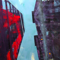 David KAPP - Painting - Wall Street  (Looking Up).