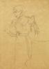 Gustav KLIMT - Dibujo Acuarela - Figure in Profile Looking Left Standing Next to an Armchair
