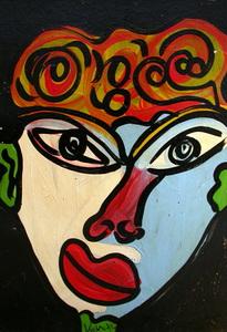 Peter Robert KEIL - Pintura - Junge Frau mit Blumenhut