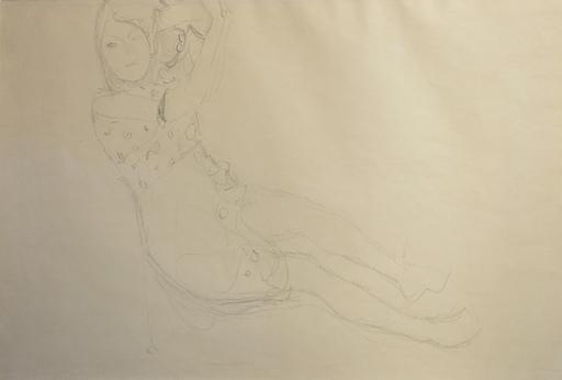 Gustav KLIMT - Disegno Acquarello - Femme accoudée