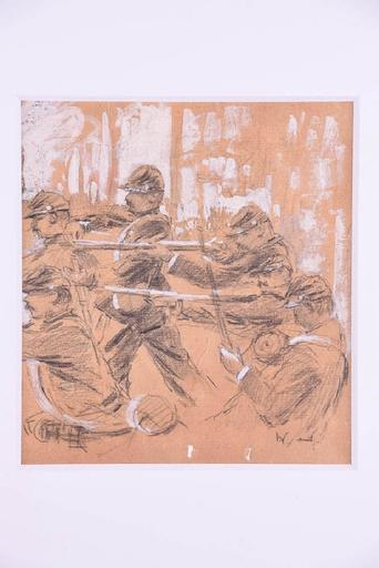 Winslow HOMER - Painting - Six men with bayonets