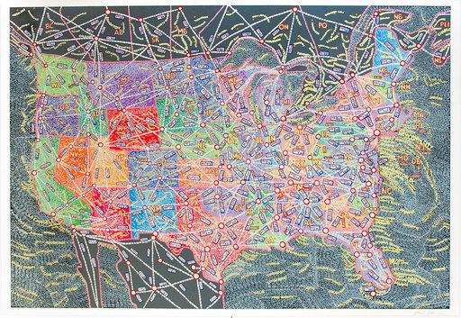 Paula SCHER - Grabado - USA Distances
