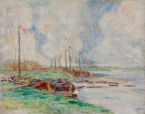 James ENSOR - Painting - Ostende, Canal