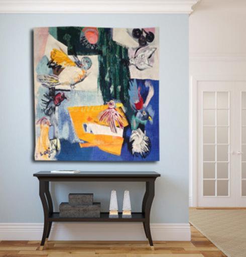 Bernard LORJOU - Tapestry - Composition aux oiseaux