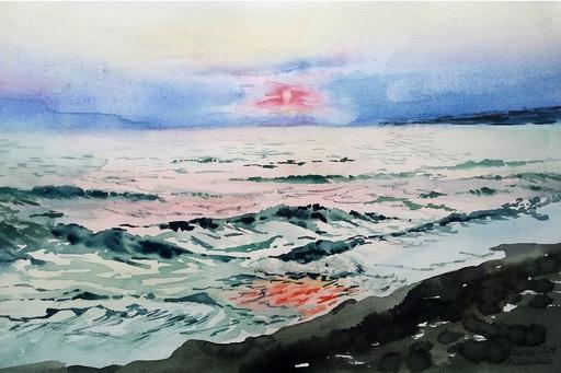 Galina VINDALOVSKAIA - Drawing-Watercolor - Sunset Sea Seascape