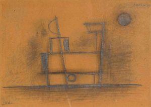 Avraham NATON - Drawing-Watercolor - Costraction