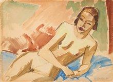 Hermann Max PECHSTEIN - Drawing-Watercolor - Weiblicher Akt