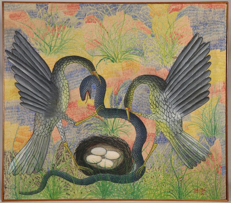 Pilipili MULONGOY - 绘画 - Untitled (Couple of birds attacking a snake that threatens t
