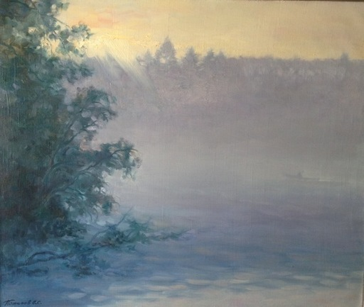 Oleg POTAKOV - Peinture - Aurore brumeuse sur le lac Kenzero (Russie du Nord)