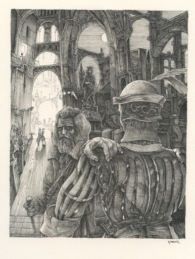 Philippe MOHLITZ - Dibujo Acuarela - DESSIN À L'ENCRE 1975 SIGNÉ MAIN HANDSIGNED INK DRAWING