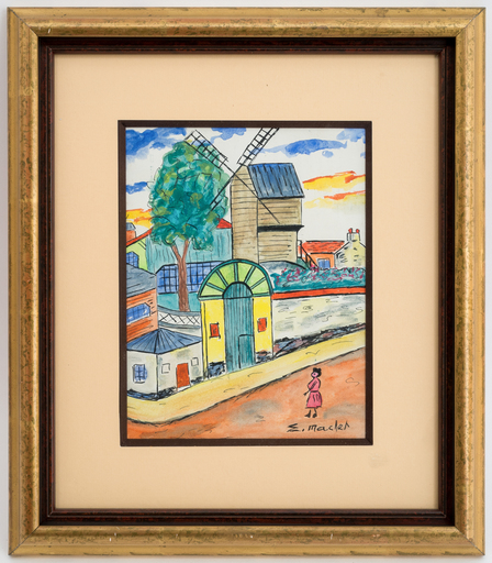 Élisée MACLET - Drawing-Watercolor - Le moulin de la galette