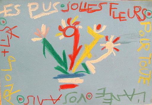 Arnold FIEDLER - Dibujo Acuarela - Neujahrsgruß auf Französisch.