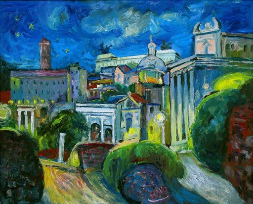 Javier CLAVO - Painting - Noche en el Foro
