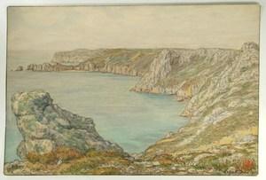 Henri RIVIERE - Drawing-Watercolor - La pointe de Saint Hernot et l'île Vierge