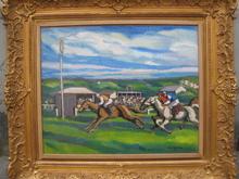 Pierre DE BELAY - Painting - LES COURSES A DEAUVILLE1925