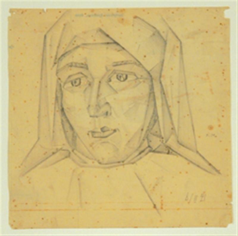 Ivan MARKOV - Drawing-Watercolor - Cubist Potrait of a Woman