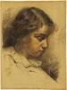 """Robert HEINRICH - Zeichnung Aquarell - """"Portrait of the Artist's Daughter"""", ca.1910"""