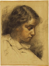 "Robert HEINRICH - Dibujo Acuarela - ""Portrait of the Artist's Daughter"", ca.1910"