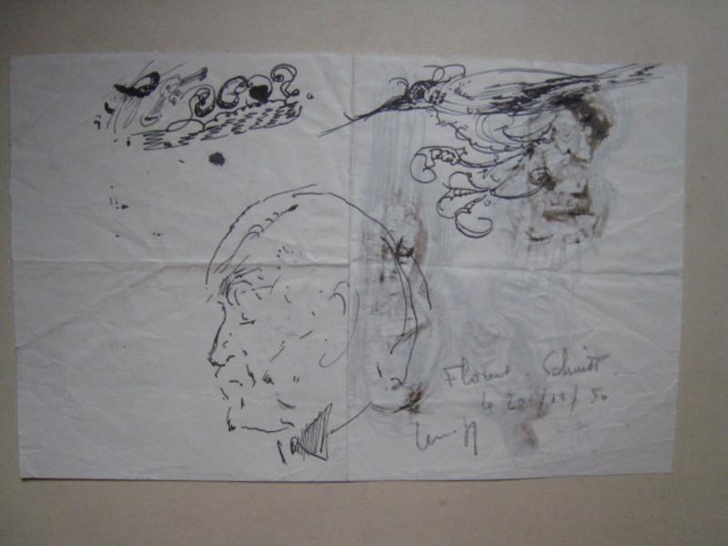 Paul LEMAGNY - Dibujo Acuarela - PORTRAIT DE FLORENT SCHMITT  1950